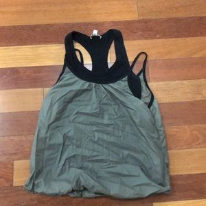 PH8 Olive green and black work out top. Sm.